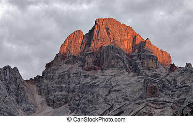 Croda Rossa, Dolomites - Croda Rossa mountain illuminated by...
