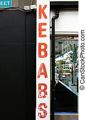 kebab take-away sign - sign for take-away fast food...