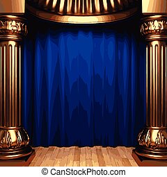 vector blue velvet curtains behind the gold columns