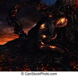 Creature made from lava and fire