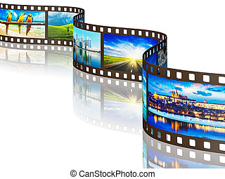 Photo film with travel images on white - Global travel world...