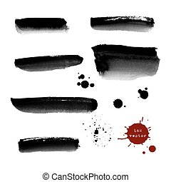 Grunge ink banners and blots