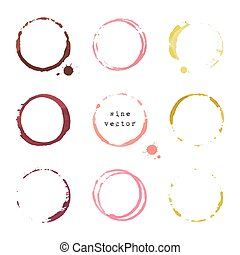 Wine round stains and blots - Collection of wine round...