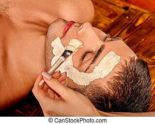 arcilla, facial, máscara, en, belleza, spa.,