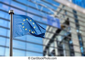 European Union flag against European Parliament - European...