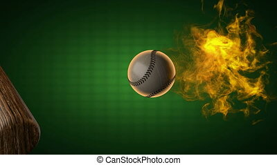 slow motion burning baseball ball.