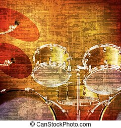 abstract grunge background with drum kit - abstract brown...