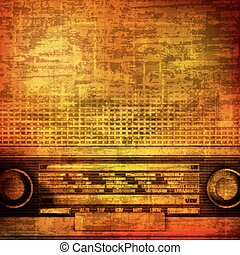 abstract grunge background with retro radio - abstract brown...