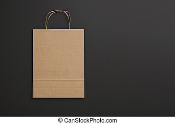 Blank paper bag with handles 3D rendering - Folded paper bag...
