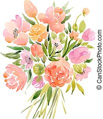 flowers - Watercolor bouquet of flowers. Vector illustration