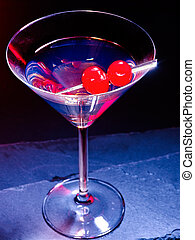 Cherry cocktail on black background 58. - Transparent cherry...
