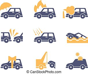 Car Insurance Icons in Flat Style