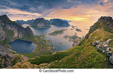 Norway - View from Reinebringen at Lofoten Islands, located...