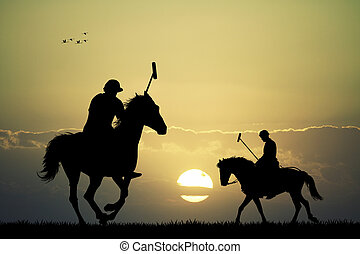 polo players at sunset - illustration of polo players at...