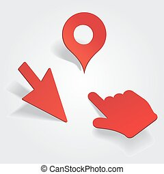 Set of different map pointers. Vector