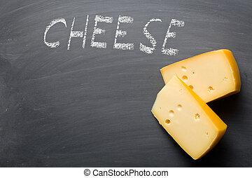edam cheese on blackboard - the edam cheese on blackboard