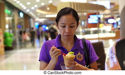 girl eating a delicious ice cream - Woman, Asian girl eating...