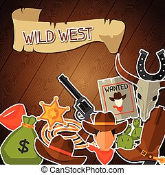 Wild west background with cowboy objects and stickers
