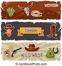 Wild west banners with cowboy objects and stickers