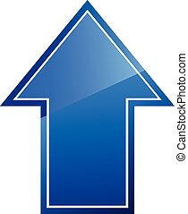 Arrow sign - Blue shiny arrow sign on white background