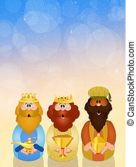 funny Christmas Nativity scene - illustration of Christmas...