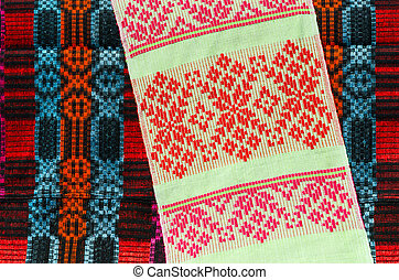 Belorussian towel with a classic geometric patterns on a...