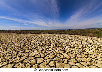 Dry cracked earth under the blue sky. Drought.