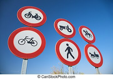 group of traffic signs - group of highway access prohibit...