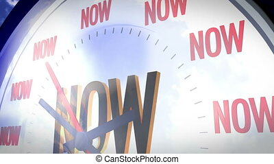 Future is now - A clock marking the word Now in different...