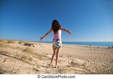 happy miniskirt woman - woman at beach of palmar in cadiz...