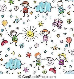 seamless pattern for kids - seamless pattern with happy kids...