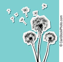 silhouettes of three dandelions in the wind