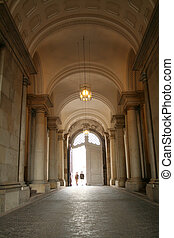 corridor copenhagen parliament - corridor under houses of...