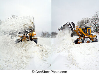 digger in winter snow storm - digger or jcb clear snow of...