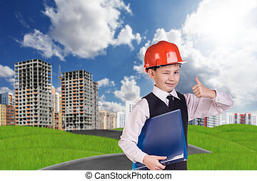 The boy in hardhat holding folder and giving thumb up