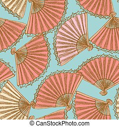 Sketch Spanish fan in vintage style, vector seamless pattern