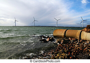 energy waste sea turbines - sewage waste pipe and offshore...