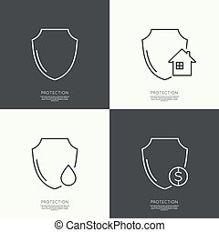 Set icons of protection The concept of home protection,...