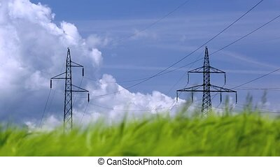 Pylons and power lines in windy green barley field with blue...
