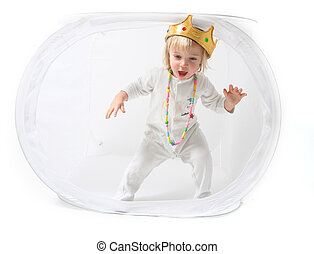 child king isolated - Child is king toddler with crown...