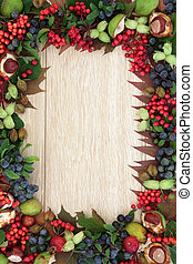 Harvest Time - Autumn fruit and nut background border over...