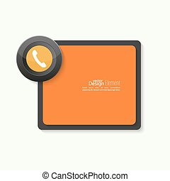 Speech Bubbles with handset and Chat symbol Call technical...