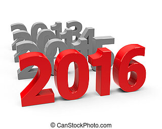 2016 come represents the new year 2016, three-dimensional...