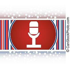 Retro microphone icon glossy button vector