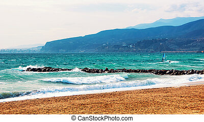 Costa de Almeria, Spain beach with kitesurfing - Kite...