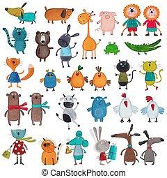 Mega, Colección, de, caricatura, mascotas,