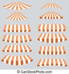 Orange White Tents Isolated on Grey Background.