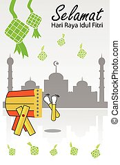 Greeting Card - Ramadhan Kareem - Vector Greeting Card -...
