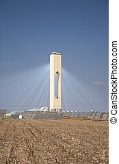 solar power beams - solar power station at sanlucar in...