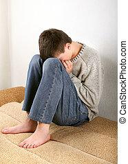 triste, adolescente, ligado, sofá,